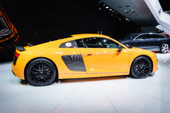 Audi R8 V10 plus, Motor Show Geneve 2015. Stock Photos