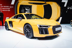Audi R8 V10 plus, Motor Show Geneve 2015. Stock Photo