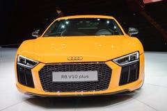 Audi R8 V10 plus, Motorshow Geneve 2015 Stock Afbeelding