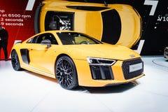 Audi R8 V10 plus, Motorshow Geneve 2015 Stock Foto