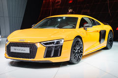 Audi R8 V10 plus, Salon de l'Automobile Geneve 2015 image stock