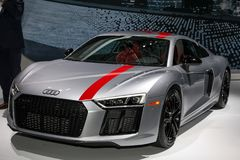 Audi R8 V10 RWS. NEW YORK CITY-MARCH 28: 2018 Audi R8 V10 RWS shown at the New York International Auto Show 2018, at the Jacob Javits Center. This was Press Stock Images
