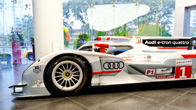 Audi R18 e-tron quattro Le Mans racing car on display Royalty Free Stock Photo