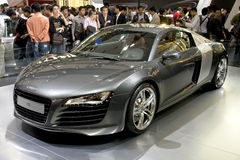 Audi r8. Audi luxury roadster r8 in its exhibition hall in 2008 international auto show GuangZhou. it is from 19/11/2008 to 25/11/2008. Photo taken in 21/11/2008 Stock Images