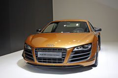 Audi R8 limited premiere in Guangzhou Auto Show. 2011. Only 30 such cars will be sold in China market Royalty Free Stock Images