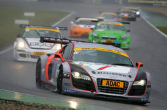 Audi R8 LMS(ADAC GT Masters). Audi R8 LMS, ADAC GT Masters, June 07. 2009.Curcuit Hockenheim,GT3 class, Sakon YAMAMOTO(JPN)/Oliver MAYER(GER), #TEAM Rosberg(GER Stock Photo