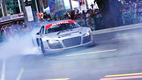 Audi R8 LMS die doorsmeltingen uitvoert Royalty-vrije Stock Foto