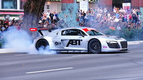 Audi R8 LMS performing burnouts Royalty Free Stock Photo