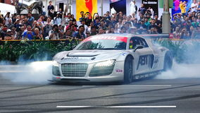 Audi R8 LMS performing burnouts Stock Photography