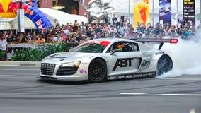 Audi R8 LMS performing burnouts Royalty Free Stock Photo