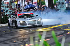Audi R8 LMS performing burnouts Stock Images