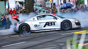 Audi R8 LMS performing burnouts Royalty Free Stock Image