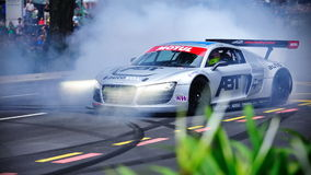 Audi R8 LMS performing stunts Royalty Free Stock Image