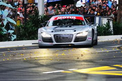 Audi R8 LMS speed down Orchard Road Royalty Free Stock Images