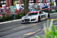 Audi R8 LMS speed down Orchard Road Royalty Free Stock Image