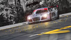 Audi R8 LMS speed down Orchard Road, Singapore Stock Photography