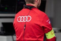 Audi Racing-teampersoneelslid royalty-vrije stock afbeelding