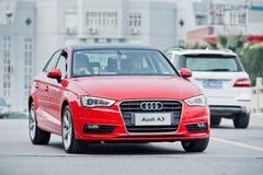 Audi rojo A3 en la calle, Wenzhou, China Imágenes de archivo libres de regalías