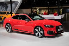 Audi RS5 car. BRUSSELS - JAN 10, 2018: Audi RS5 car showcased at the Brussels Motor Show Royalty Free Stock Photography