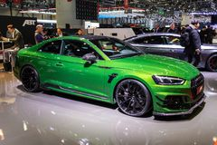 Audi RS5 Coupe ABT Sportsline sports car. GENEVA, SWITZERLAND - MARCH 6, 2018: Audi RS5 Coupe ABT Sportsline sports car showcased at the 88th Geneva royalty free stock images