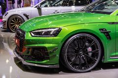 Audi RS5 Coupe ABT Sportsline sports car. GENEVA, SWITZERLAND - MARCH 6, 2018: Audi RS5 Coupe ABT Sportsline sports car showcased at the 88th Geneva stock photos