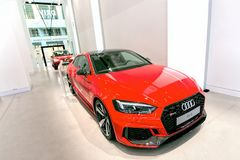 Audi RS5 Quattro Coupe 2018 in red, in a showroom in Berlin stock photos