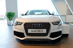 Audi RS5 sports coupe on display at Audi Centre Singapore. Audi RS5 sports coupe on display at the opening of the new Audi Centre Singapore December 15, 2012 in Royalty Free Stock Image