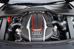 Audi S8 engine room Royalty Free Stock Image