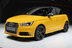 2014 Audi S1 on the Geneva Auto Salon. 2014 Audi S1 and the S1 Sportback, the new flagship models in the compact A1 model line Stock Photography