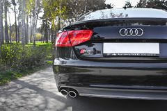 Kiev, Ukraine; June 25, 2013; Audi S8 in the park on the alley. Audi S8 in the park on the alley royalty free stock photography