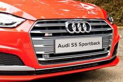 Audi S5 Sportback 2017 testów nowy Prowadnikowy dzień Zdjęcia Stock
