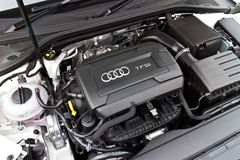 Audi A3 Sedan 2014 engine Stock Image