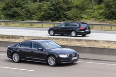 Audi A8 sedan on the road Royalty Free Stock Images