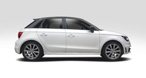 Audi A1 side view isolated on white Royalty Free Stock Photo