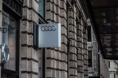 Audi sign on wall Royalty Free Stock Photo