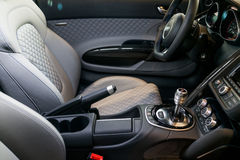 Audi sport car interior. Steering wheel and Automatic gear shift handle,luxury sport car interior stock images