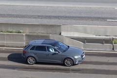 Audi A3 Sportback auf der Autobahn Stockbilder