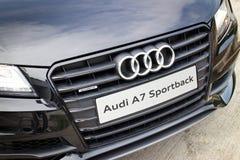 Audi A7 Sportback czerni wydania 2014 czerni maska Fotografia Stock