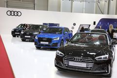 Audi stand at SIAB 2018, Romexpo, Bucharest, Romania. The international automobile saloon in Bucharest Royalty Free Stock Photo