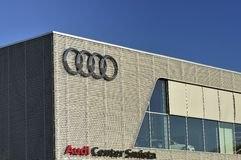 Audi. Stockholm, Sweden - May 1th, 2013: Audi sign on the side of the dealerships outside wall. Audi is a German car brand Royalty Free Stock Photography