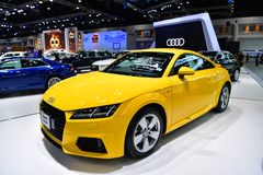 Audi TT Coupe car Logo of Mercedes-Benz on display at Thailand International Motor Expo Stock Photography