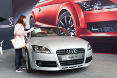 Audi TT silver sports car Royalty Free Stock Photos