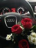 Audi und Rosen Stockfotografie