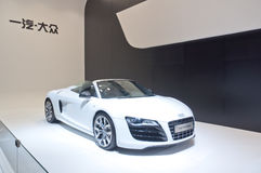 Audi white sports car at 2011 auto show booth Stock Images