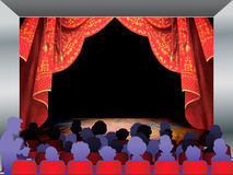 Audience. On red Stage curtain and background illustration you can use for designs Stock Photography