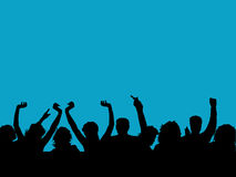 Audience. Silhouette of an audience with arms raised Royalty Free Stock Photo