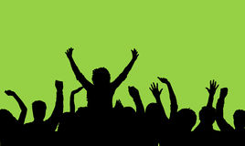 Audience. Silhouette of an audience with one person on anothers shoulders Royalty Free Stock Photo
