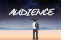 Audience against serene landscape Royalty Free Stock Photography