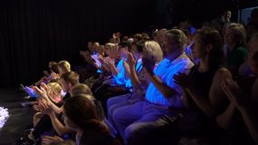 The audience applaud the artists stock video