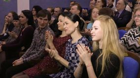 The audience is applauded in the auditorium. Theater and concert Agency. Russia, Saratov, March 27, 2017.  stock footage
